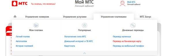 """Меню """"Денежные переводы"""" в личном кабинете МТС"""